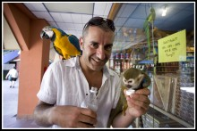 DR Dov with parrot and monkey